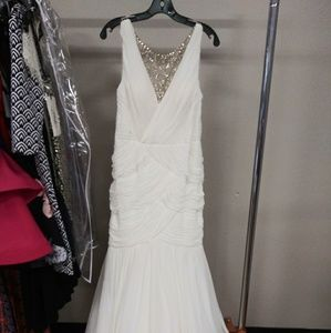 Adrianna Papell white ruched gown